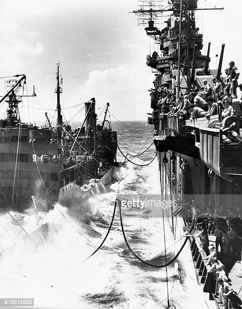 The USS Lexington refuels from a tanker in November 1943 | Location Near the Marshall Islands