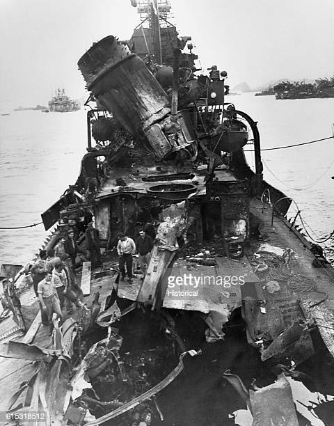 The USS Lindsey damaged by a Kamikaze plane while operating off Kerama Retto April 14 1945