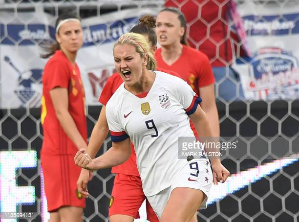 The US's Lindsey Horan celebrates after scoring a goal during the International Women's friendly football match between the US and Belgium at the...