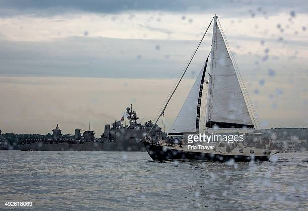 The USS Oak Hill arrives on May 21 2014 in New York City Fleet Week festivities officially began with a parade of ships into New York Harbor and up...