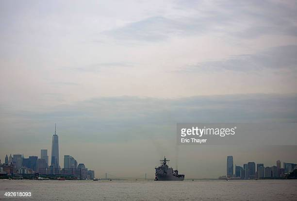 The USS Oak Hill sails up the Hudson River on May 21 2014 in New York City Fleet Week festivities officially began with a parade of ships into New...