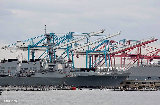 The USS Porter sits docked at the Norfolk Naval Shipyard in Norfolk Virginia US on Thursday Feb 28 2013 Government spending cuts known as...