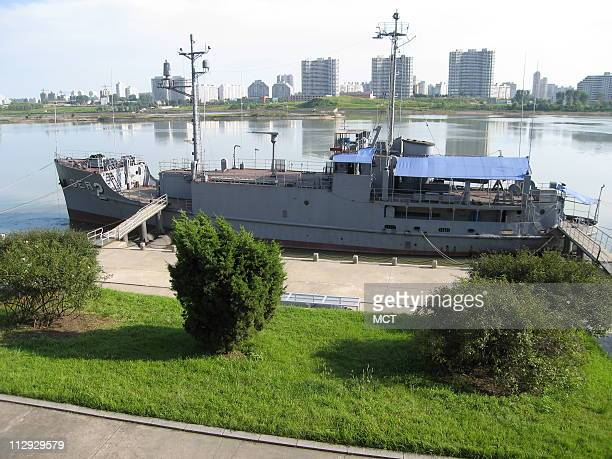 The USS Pueblo a spy ship seized by North Korea in 1968 is now docked along the Taedong River in Pyongyang the nation's capital August 31 2007
