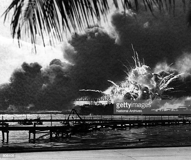 The USS Shaw explodes during the Japanese raid on Pearl Harbor December 7 1941