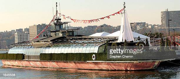 The USS Target barge is shown docked at Chelsea Piers November 15 2002 in New York City The USS Target is actually a Target department store set up...