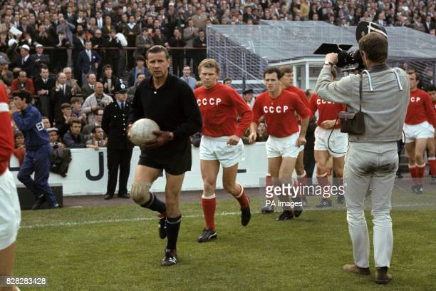 The USSR team are filmed as they run out onto the pitch before the match goalkeeper Lev Yashin Anatoly Banishevski Joszef Szabo