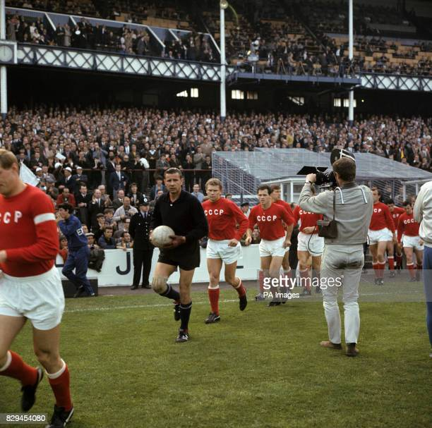 The USSR team are filmed as they run out onto the pitch before the match captain Albert Shesterniev goalkeeper Lev Yashin Anatoly Banishevski Joszef...