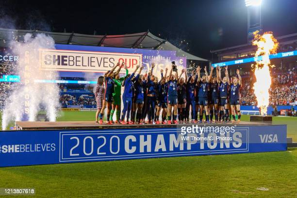 The USWNT receives their trophy for winning the SheBelieves Cup during a game between Japan and USWNT at Toyota Stadium on March 11 2020 in Frisco...