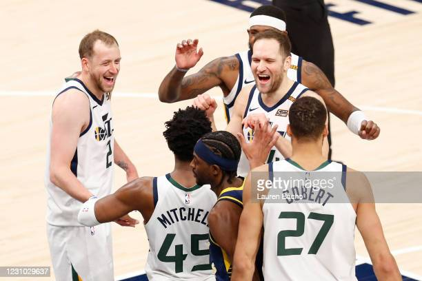 The Utah Jazz celebrate after their win over the Indiana Pacers at Bankers Life Fieldhouse on February 7, 2021 in Indianapolis, Indiana. NOTE TO...