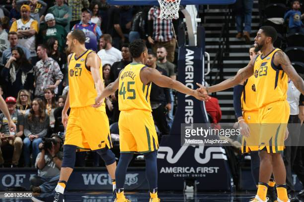 The Utah Jazz celebrate during the game against the LA Clippers on January 20 2018 at Vivint Smart Home Arena in Salt Lake City Utah NOTE TO USER...