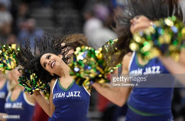 The Utah Jazz dancers perform at the start of the game between the Houston Rockets and the Jazz at Vivint Smart Home Arena on December 7 2017 in Salt...