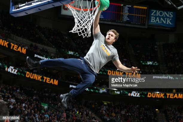 The Utah Jazz dunk team performs during the game against the Washington Wizards on December 4 2017 at Vivint Smart Home Arena in Salt Lake City Utah...