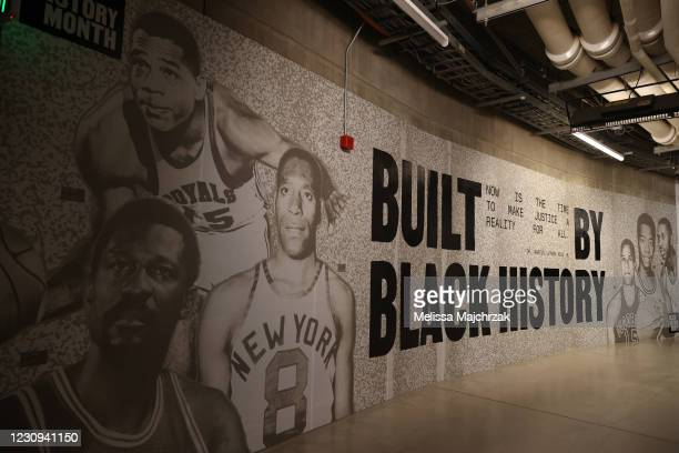The Utah Jazz honor Black History Month before the game on February 2, 2021 at vivint.SmartHome Arena in Salt Lake City, Utah. NOTE TO USER: User...