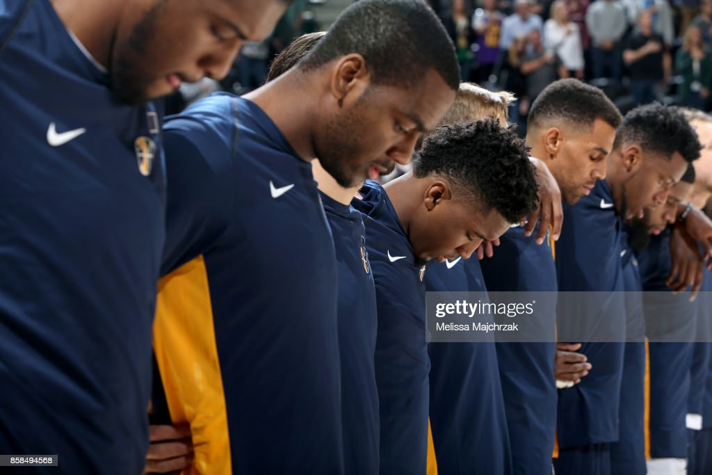 The Utah Jazz honor the National Anthem before the game against the Phoenix Suns on October 6, 2017 at vivint.SmartHome Arena in Salt Lake City, Utah.