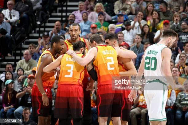 The Utah Jazz huddle during the game against the Boston Celtics on November 9 2018 at Vivint Smart Home Arena in Salt Lake City Utah NOTE TO USER...