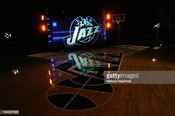 The Utah Jazz logo photographed behind the scene at the KJZZ video shoot at Energy Solutions Arena on October 11, 2012 in Salt Lake City, Utah. NOTE...