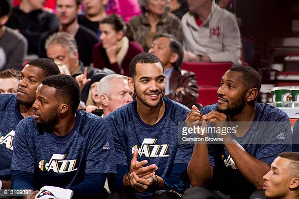 The Utah Jazz look on during the game against the Portland Trail Blazers on October 3 2016 at the Moda Center Arena in Portland Oregon NOTE TO USER...