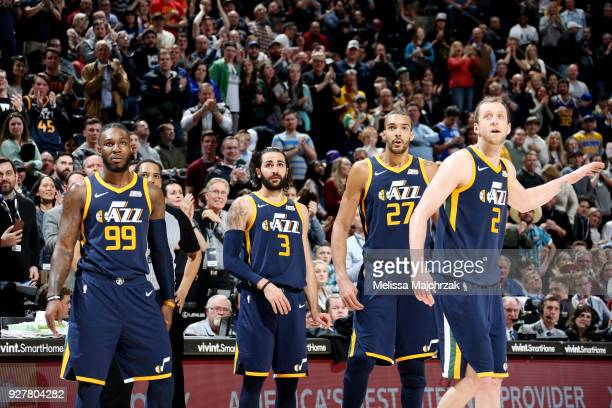 the Utah Jazz looks on during the game against the Orlando Magicon March 5 2018 at vivintSmartHome Arena in Salt Lake City Utah NOTE TO USER User...