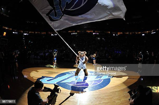 The Utah Jazz mascot waves a flag prior to the game against the Denver Nuggets in Game Six of the Western Conference Quarterfinals during the 2010...