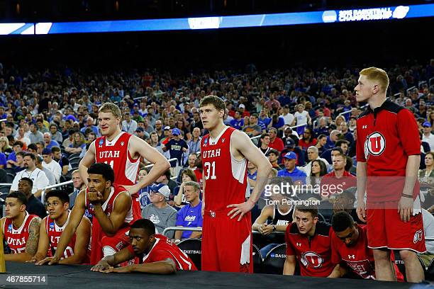 The Utah Utes bench looks on in the second half against the Duke Blue Devils during a South Regional Semifinal game of the 2015 NCAA Men's Basketball...