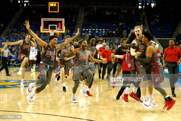 The Utah Utes celebrate a buzzerbeating threepointer to win 9392 over the UCLA Bruins at Pauley Pavilion on February 09 2019 in Los Angeles California