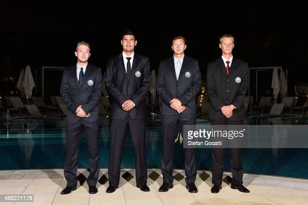 The Uzbekistan Davis Cup team Sanjar Fayziev Farrukh Dustov Denis Istomin and Temur Ismailov pose during the Official Dinner ahead of the Davis Cup...