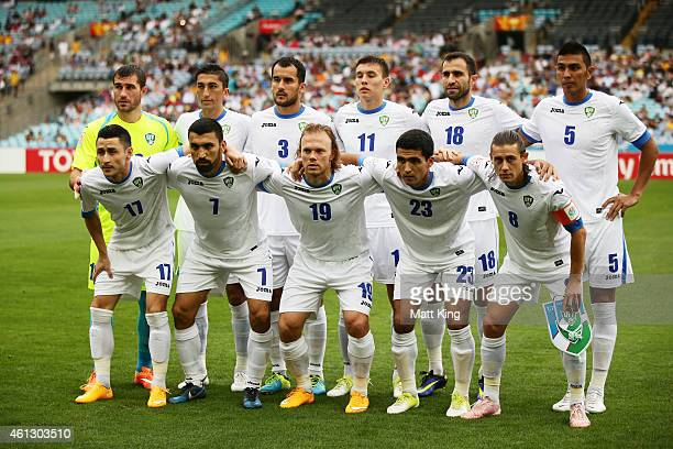 The Uzbekistan team line up before the 2015 Asian Cup match between Uzbekistan and DPR Korea at ANZ Stadium on January 10 2015 in Sydney Australia