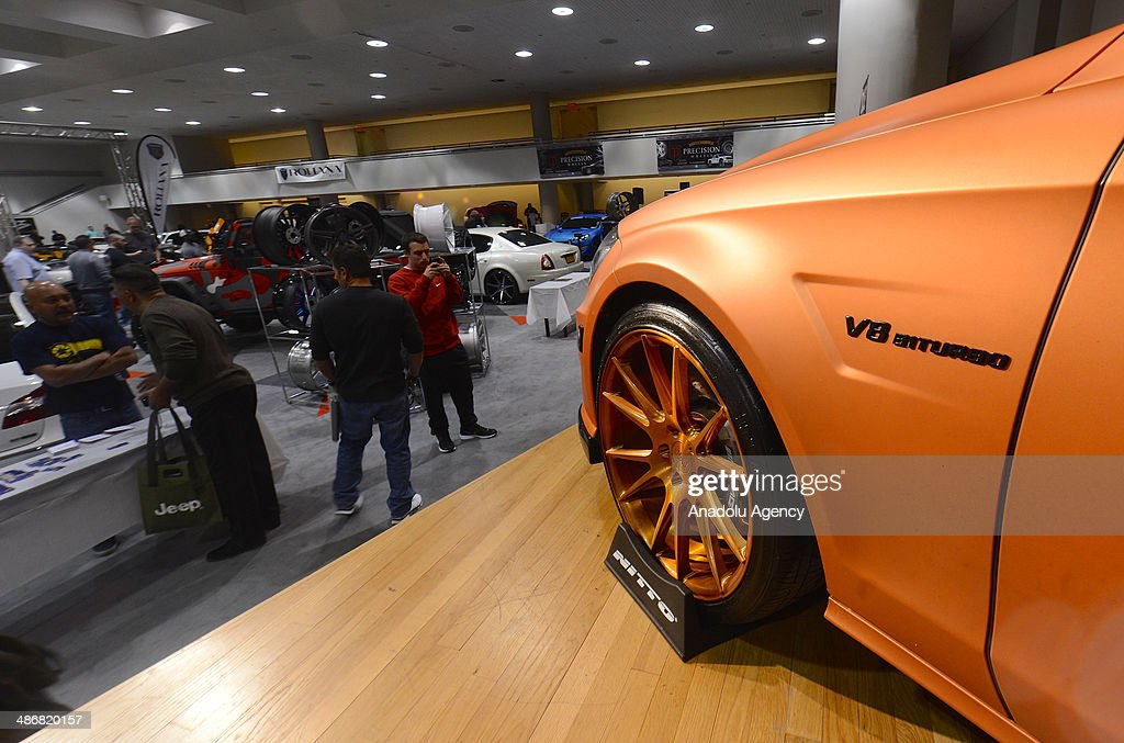 The 'V8 biturbo' badge is seen on a customized Mercedes during the 2014 New York International Auto Show at the Jacob Javits Center New York, United States on April 25, 2014.