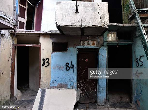 The vacant houses of the residents who left their houses at Sane Guruji Nagar at Dhobi Ghat as people have vacated the place for redevelopment on...