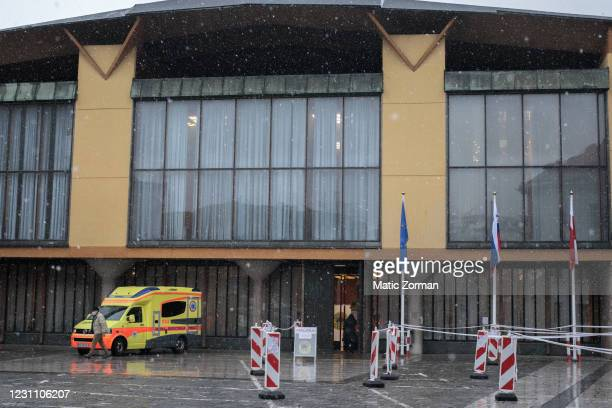 The vaccination centre reserved for vaccinations of elderly people above 80 years in seen on February 11, 2021 in Kranj, Slovenia. Slovenia plans to...