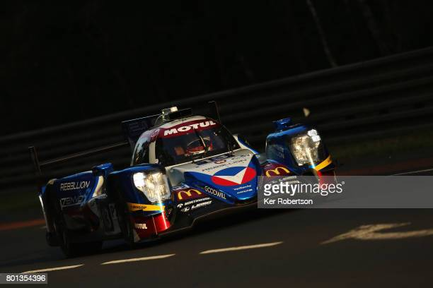 The Vaillante Rebellion Oreca of Mathias Beche David Heinemeier Hansson and Nelsinho Piquet drives during qualifying for the Le Mans 24 Hours race at...