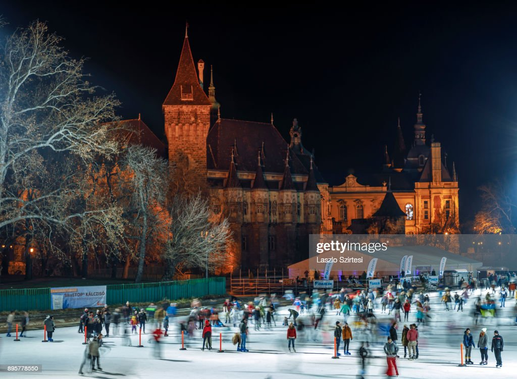 The Vajdahunyad Castle and the ice rink of City Park (in Hungarian: Városliget) are seen at Hösök tere (Heroes' square) on December 17, 2017 in Budapest, Hungary. Budapest is a popular tourist destination in Europe.