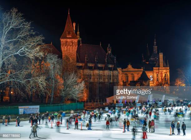The Vajdahunyad Castle and the ice rink of City Park are seen at Hösök tere on December 17 2017 in Budapest Hungary Budapest is a popular tourist...