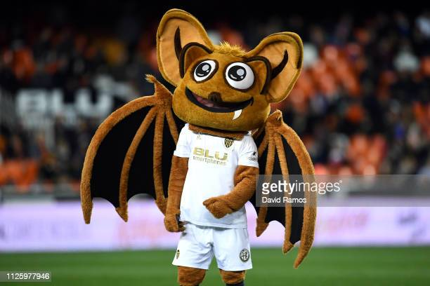 The Valencia Bat mascot is seen prior to the Copa del Rey Quarter Final match between Valencia and Getafe at Estadio Mestalla on January 29 2019 in...