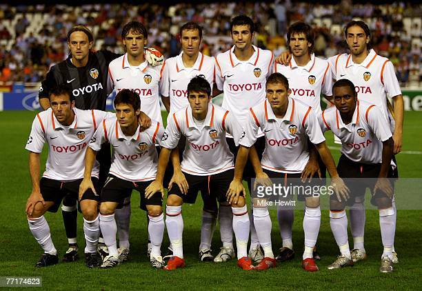 The Valencia team prior to the UEFA Champions League Group B match between Valencia and Chelsea at the Estadio Mestalla on October 3 2007 in Valencia...