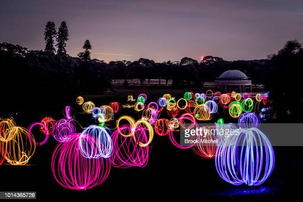 The Valley Of Light Public Art Experience at Centennial Park on August 10 2018 in Sydney Australia Hundreds attended the interactive light experience...