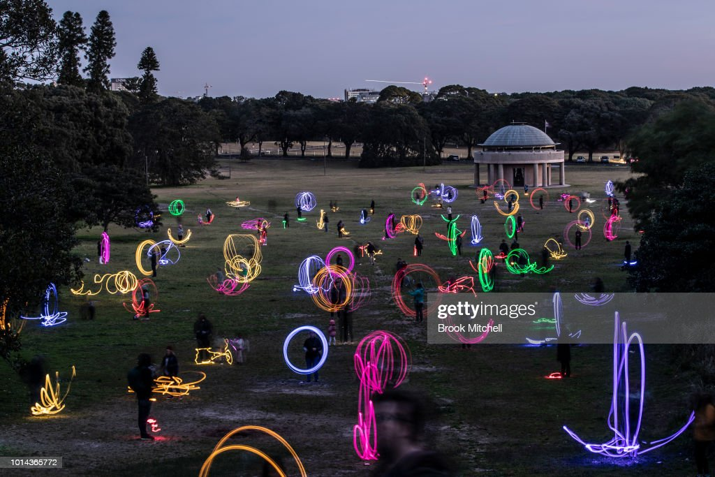 The Valley Of Light Public Art Experience at Centennial Park on August 10, 2018 in Sydney, Australia. Hundreds attended the interactive light experience using 100 individual lights of various colours.