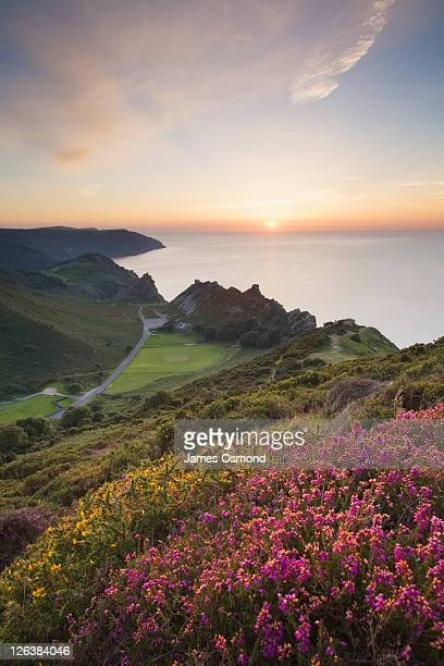 the valley of rocks from hollerday hill, lynton. exmoor national park. devon. england. uk. - lynton stock pictures, royalty-free photos & images