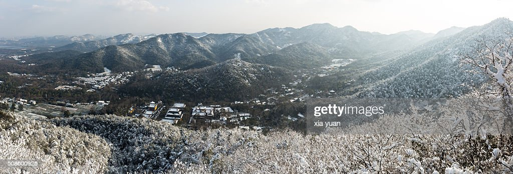 The valley of snow-covered hills,Hangzhou,Zhejiang,China : Stock Photo