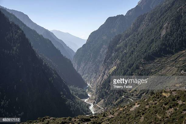 The valley of the Ganges River, one of the world's longest river, winds through rice fields in Western Himalayas. The river which rises in the Indian...