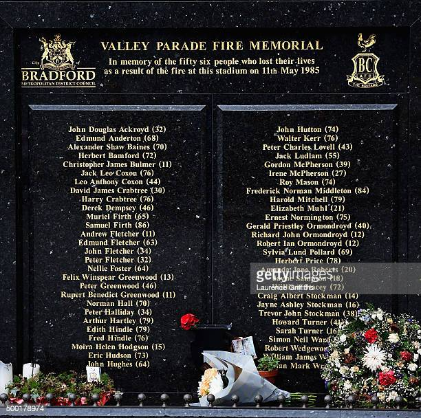 The Valley Parade Fire memorial during The Emirates FA Cup Second Round match between Bradford City and Chesham United at Coral Windows Stadium...