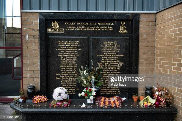 The Valley Parade Fire Memorial in memory of the fifty six people who lost their lives as a result of the fire at this stadium on 11th May 1985 at...