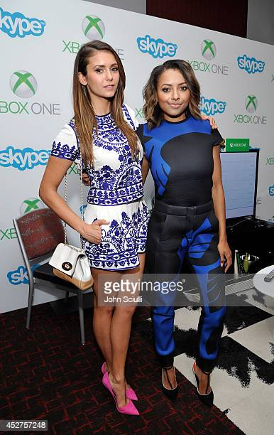 'The Vampire Diaries' actresses Nina Dobrev and Kat Graham chat with fans over Skype for Xbox One in the Microsoft VIP Lounge during ComicCon on July...