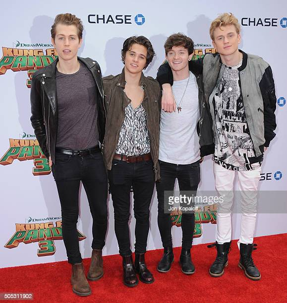 The Vamps arrives at the Los Angeles Premiere 'Kung Fu Panda 3' at TCL Chinese Theatre on January 16 2016 in Hollywood California