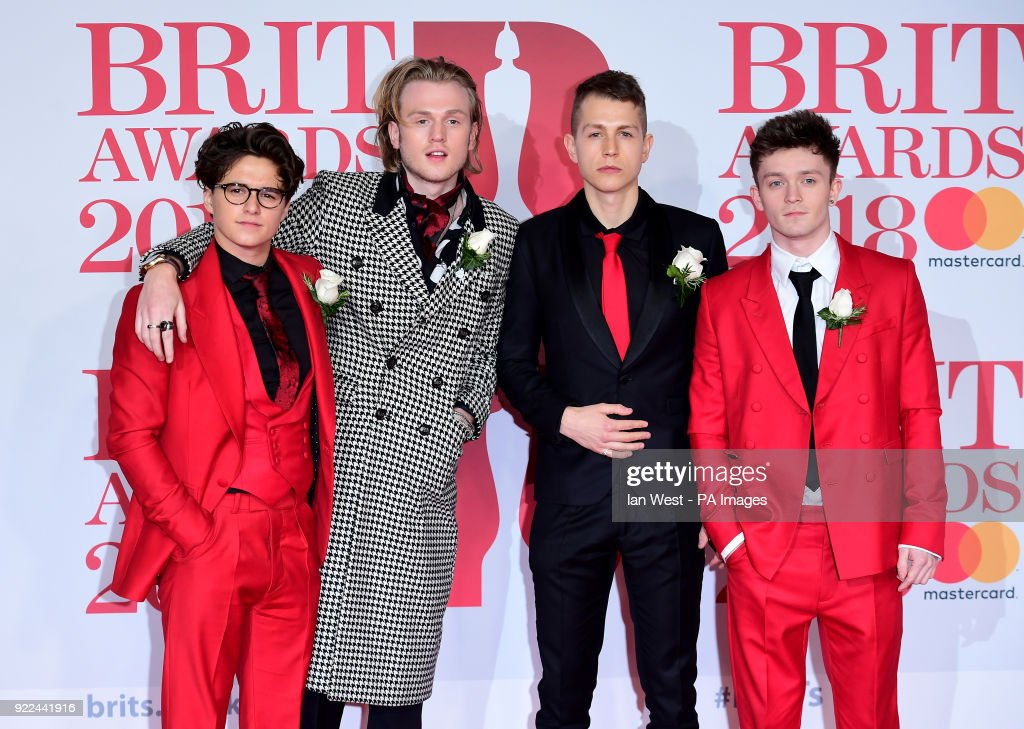 The Vamps' Brad Simpson, James McVey, Connor Ball and Tristan Evans attending the Brit Awards at the O2 Arena, London