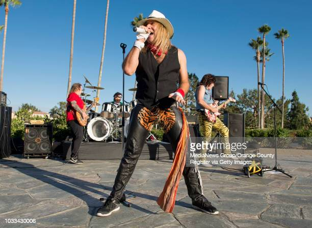 The Van Halen tribute band Fan Halen performs at The Tustin Ranch Golf Club for their 'Concert Under the Stars Series' Pictured front lead singer...