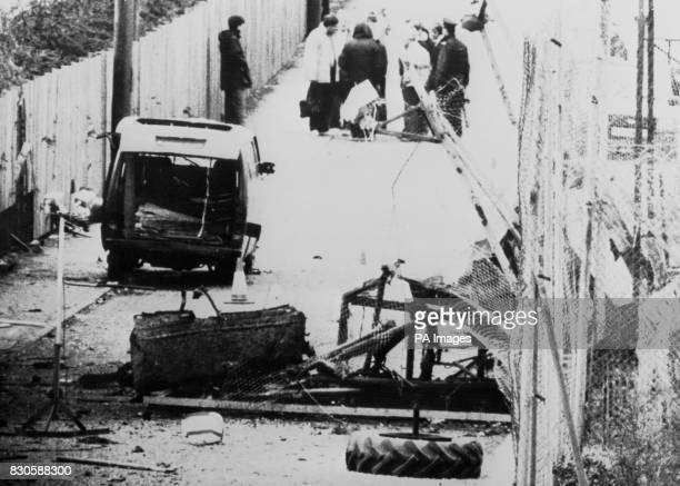The van which gunmen used to mount an attack on the RUC station in Loughall County Armagh sits parked outside the wrecked perimeter fence of the...
