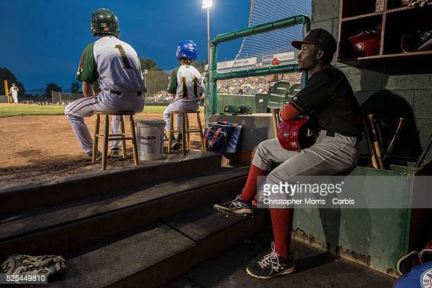 The Vancouver Canadians Roemon Fields sits in the dugout before his atbat vs the Boise Hawks in Boise Idaho