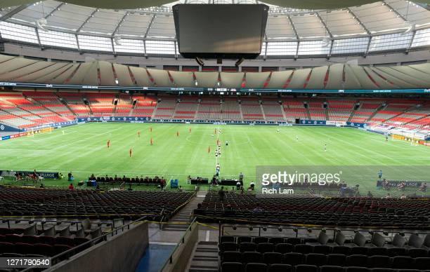 The Vancouver Whitecaps and Toronto FC play their MLS soccer in an empty stadium at BC Place on September 5, 2020 in Vancouver, Canada.