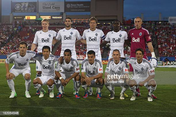 The Vancouver Whitecaps FC pose for a team portrait before kickoff against FC Dallas on September 15 2012 at FC Dallas Stadium in Frisco Texas